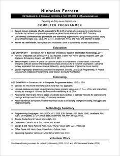 if youre a new it graduate check out this sample resume for an entry level computer programmer - Programmer Resume Example