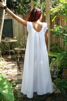 White Cotton Full Swing Bridal Wedding Lingerie Romance Honeymoon Dream Nightgown Sleepwear. $115.00, via Etsy.