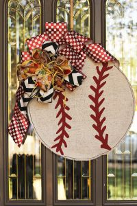 #Baseball Doorway Decor- @John Searles Searles Searles Searles Christiansen Morningstar Haus Inc. Baseball Burlee and a Show Me Decorating Bow