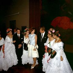 President John F. Kennedy and wife Jacqueline take in a performance of the Ballet Folklorico at the Instituto Nacional de Bellas Artes in Mexico City, Mexico, June 29, 1962.    (Photo Cecil Stoughton / JFK Library)