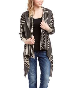 Look at this KLd. Signature Black & Gray Tribal Open Cardigan on today! Types Of Coats, Black And Grey, Gray, Open Cardigan, That Look, Sweaters, Fashion, Ash, Moda