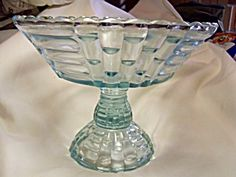 Blue Art Glass Compote from the 40's 50's 60's:  This design of a bowl on a  pedestal was made in various beautiful patterns as well as colors.