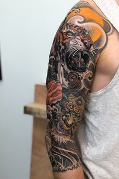 Black and gray tattoos japanese sleeve tiger, japanese. - Black and gray tattoos japanese sleeve tiger, japanese sleeve tattoos wom - Oni Tattoo, Tiger Tattoo Sleeve, Dragon Sleeve Tattoos, Irezumi Tattoos, Sleeve Tattoos For Women, Tattoo Sleeve Designs, Tattoos For Guys, Samoan Tattoo, Polynesian Tattoos