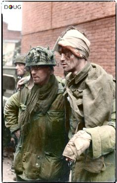 Sappers Charles Grier and wounded Dick Robb both from 'B' troop, 1 Para Squadron, Royal Engineers. This picture was taken at on Wednesday the September in a builders yard near their last position held at the Van Limburg Stirum School in Arnhem. Operation Market Garden, British Army Uniform, British Soldier, Parachute Regiment, Royal Engineers, What Is Today, Man Of War, History Online, War Photography