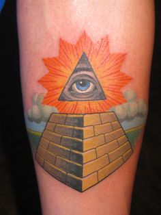 Thomas Graham, Super Genius Tattoo, Seattle WA, color tattoo, pyramid, illuminati, all seeing eye, clouds Pyramid Tattoo, Illuminati Tattoo, Gold Lipstick, Cloud Tattoo, Eyes Wallpaper, Skin Shades, Eye Logo, Eye Sketch, Eye Painting