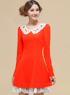 Orange Doll Collar Embroidery Dress
