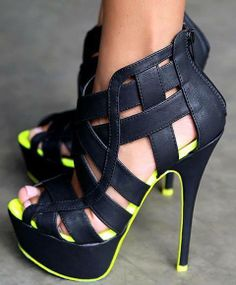 Neon and Black Shoes