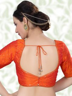 Shop orange designer raw silk ready made blouse online from india brand product code price 7895 color orange fabric raw silk Pattu Saree Blouse Designs, Blouse Designs Silk, Designer Blouse Patterns, Bridal Blouse Designs, Simple Blouse Designs, Stylish Blouse Design, Blouse Back Neck Designs, Sexy Bluse, Orange Fabric