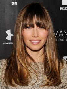 30s: Jessica Biel's layers with soft bangs
