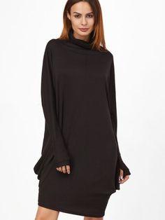 Black Cowl Neck Draped Side Cocoon Dress