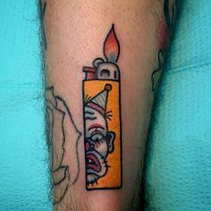 Fire It Up With These 13 Lighter Tattoo Designs Clown lighter, by. - Fire It Up With These 13 Lighter Tattoo Designs Clown lighter, by Davey CXC You are i - Time Tattoos, Leg Tattoos, Body Art Tattoos, Sleeve Tattoos, Trendy Tattoos, Small Tattoos, Cool Tattoos, Light Tattoo, Dark Tattoo