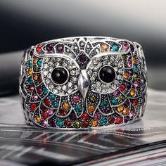 Group of: owl cuff, owl cuff bracelet, rhinestone owl cuff ...