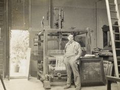 Frank  Brangwyn in his Temple Lodge studio, 1904,  photograph courtesy Liss Fine Art . [Frank Brangwyn was one of England's most talented artists - a muralist, oil painter, watercolourist, draughtsman, etcher, lithographer, wood engraver and designer of interiors, furniture, carpets, ceramics and stained glass.]