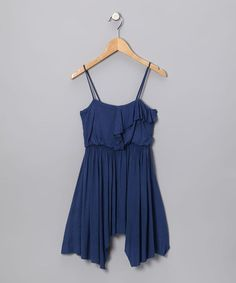 Take a look at this Blue Ruffle Dress by Blow-Out: Girls' Apparel on #zulily today!