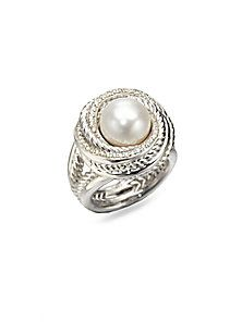 David Yurman - Pearl & Diamond Sterling Silver Ring - to match my necklace :)