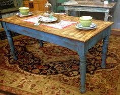 Farm Table repurposed and refinished with Annie Sloan's Greek Blue.