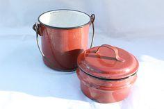 Enamel French antique pot compartment with lid rare vintage lunchbox rustic kitchen storage farmhouse