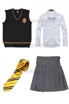 Hufflepuff Cosplay Vest Shirt Skirt Necktie from Harry Free Shipping for Halloween and Christmas