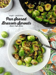 Pan Seared Brussels Sprouts are a welcome addition to any plate. This delicious side dish will make a brussel sprout lover out of just about anyone! They're a terrific addition to any meal, but they're also wonderful on your holiday dinner table. This easy recipe is vegan and gluten-free. Side Dishes For Bbq, Vegan Side Dishes, Side Dish Recipes, Snack Recipes, Vegan Thanksgiving, Vegan Christmas, Christmas Recipes, Holiday Recipes, Veggie Snacks