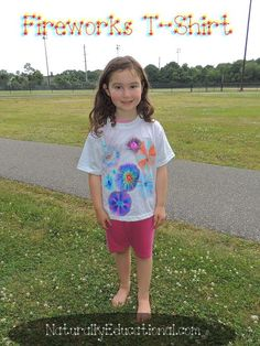 Make a fireworks t-shirt with Sharpie markers and rubbing alcohol. Educational connections, too, at NaturallyEducational.com! #IndependenceDay