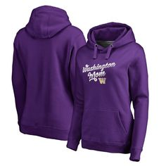 Washington Huskies Fanatics Branded Women's Plus Sizes Team Mom Pullover Hoodie - Purple