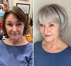 Gray Hair Growing Out, Grow Hair, Short Hair Cuts, Short Hair Styles, Short Gray Hair, Grey Hair Transformation, Gray Hair Highlights, Transition To Gray Hair, Her Hair