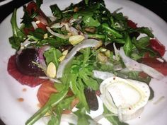 #vegetarian #beet and #bloodorange #salad topped with #pistachios. From #CooksCounty #restaurant in #LosAngeles #California #food #foodie #dining #restaurant #healthy #veggie #vegetarianfood