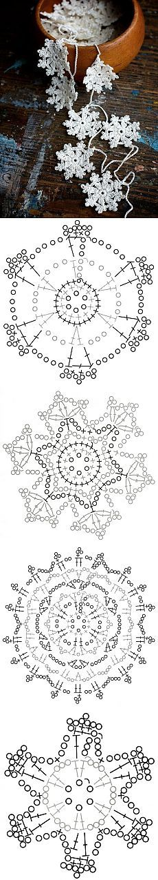 crocheted snowflakes form a bunting or Christmas/winter garland ... pattern included ...