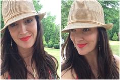 "BCBG straw fedora hat from Nordstrom & Stila ""Carina"" Stay All Day liquid lipstick. I love pairing a hat with a bold lip bc I don't have to wear hardly any eye makeup!"