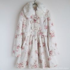 LIZ LISA Floral Winter Coat Ribbon Fur Lolita Hime gyaru Size F Japan #LIZLISA…