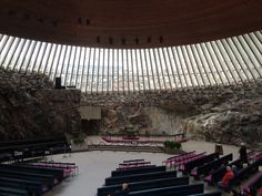 Inside the Temppeliaukio Church in Helsinki.  Built in 1969, this church is built directly into solid rock. #travel #finland #scandinavia #europe #helsinki #suomi #architecture #church #nordic