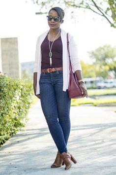 Express cardigan + burgundy J Crew tee + jeans + cognac peep toe booties [pinksole.com]