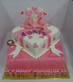 Hearts and Ribbons Cake