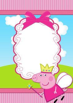 Moldura Convite e Cartão Peppa Pig Princesa: