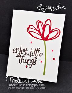CAS by Melissa: Layering Love set & Sunshine Wishes thinlits - all from Stampin' Up!
