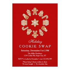Christmas Wreath Cookie Swap Invitation