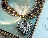 Vintage French Rhinestone Heart, Pearl and Garnet  Assemblage Bracelet...Amor Dulce Deux