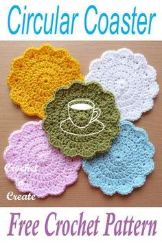 Free crochet pattern for crochet coasters, make a set in one color or individual. #crochetncreate #freecrochetpatterns #crochetcoasters