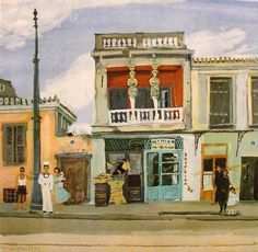 Houses in Greek painting - Yiannis Tsarouchis-NJH Studio Watercolor Art Paintings, Old Paintings, Modern Art, Contemporary Art, Mediterranean Art, Greece Painting, France Art, Call Art, 10 Picture