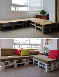Pallet bench, would love to try this at my place. Lacking storage space for all the small stuff and this would be a smart way of using your couch.