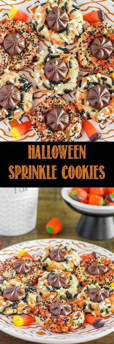 Chewy Halloween Sprinkle Cookies are so fun and festive, with a milk chocolate c. Chewy Halloween Sprinkle Cookies are so fun and festive, with a milk chocolate center! A secret ingredient sets them apart form all other sprinkle cookies! Halloween Goodies, Halloween Food For Party, Halloween Desserts, Holiday Desserts, Holiday Cookies, Holiday Baking, Halloween Cupcakes, Holiday Treats, Halloween Treats