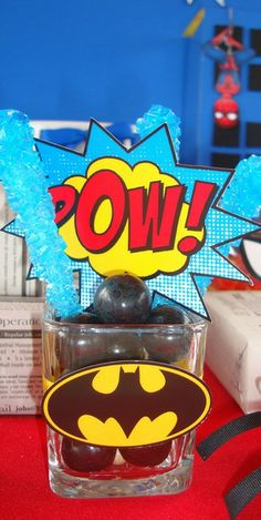 Spiderman and Batman Birthday Party Ideas! See more party ideas at CatchMyParty.com!