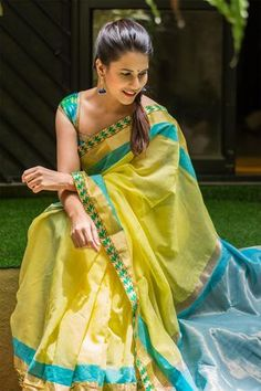 Lemon yellow chanderi cotton saree with blue and gold border Modern Indian Sarees Click Visit link for Silk Cotton Sarees, Chiffon Saree, South Silk Sarees, Turquoise Wedding Dresses, Jute, Short Red Prom Dresses, Wedding Outfits For Women, Blue Saree, Green Saree