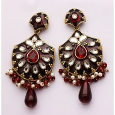 Blackish maroon work Party Wear Danglers - Online Shopping for Earrings by Craft Stages