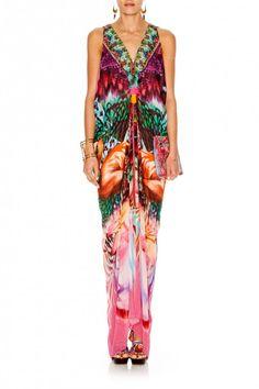 Camilla - Awakened Utopia Long Drape Dress | Hire Designer Kaftans | GlamCorner | Get 10% Off on all Orders