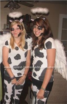 it's two holy cows! For our costumes we decided to be holy cows. We came up with the idea because I tend to say holy cow a lot so we were like hey! Lets be holy cows.