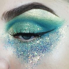 blue and green glitter mermaid makeup