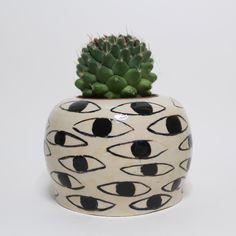 K Round Ceramic Eye Pot - Black and White. £35.00, via Etsy.