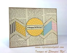 handmade card ... looks like reused paper but probably a printed paper ... luv the wide chevron created with stamps and pieced paper ... Stampin' Up!