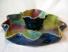 by gretchen, grade 12 chip-n-dip set, stoneware, underglaze and glaze Chip And Dip Sets, Chip And Dip Bowl, Slab Pottery, Pottery Bowls, Pottery Ideas, How To Make Chips, Clay Projects, Projects To Try, Tie Dye Party
